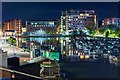 SK9771 : Brayford Pool at night, Lincoln by Oliver Mills
