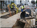 SP3165 : Digging a trench for a sewer, Newbold Terrace, Leamington by Robin Stott