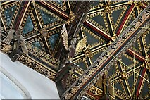 ST0207 : Cullompton, St. Andrew's Church: The magnificent nave wagon shaped roof (detail) 2 by Michael Garlick