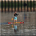 NT9952 : A paddle boarder at Berwick-upon-Tweed by Walter Baxter
