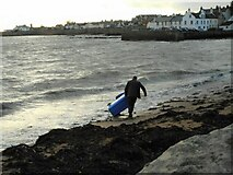 NO5603 : Rescuing a wheelie bin from the sea by Richard Sutcliffe