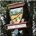 TG1339 : West Beckham village sign by Adrian S Pye