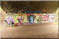 SK7947 : Cotham Bridge graffiti by Richard Croft