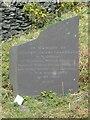 SH6369 : Slate memorial stone near the flooded pit of the former Bryn Hafod-y-Wern slate quarry, Llanllechid by Meirion