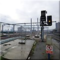SJ8398 : Railway lines at Salford Central by Gerald England