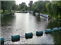 TL4459 : Safety barrage upstream of the weir, River Cam, Cambridge by Ruth Sharville
