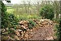 SX9056 : Rubble by the coast path near Elberry Cove by Derek Harper