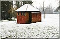 SO8275 : Snow on roof of old toilets, Brinton Park, Kidderminster, Worcs by P L Chadwick