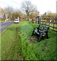 SO4007 : Roadside bench in Raglan, Monmouthshire by Jaggery