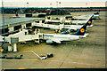SJ8185 : Lufthansa aircraft at Manchester Airport T1 by Humphrey Bolton