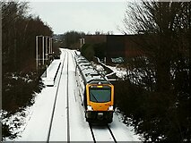 SE2434 : Train leaving Bramley in the snow by Stephen Craven