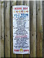 SP8700 : Thank You Notice on a fence in Prestwood by David Hillas