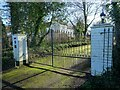SO8548 : Entrance gate to Napleton Grange by Philip Halling