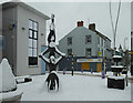 """H4572 : Snow partly covering the sculpture """"Balance"""", Omagh by Kenneth  Allen"""