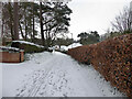 H4673 : Snow along Retreat Close, Mullaghmore, Omagh by Kenneth  Allen