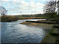 SE1322 : Broken weir on the river at Brookfoot, Southowram by Humphrey Bolton