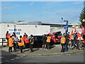 TQ2182 : Industrial action by Unite union, HS2 Atlas Road site by David Hawgood