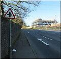 ST3092 : Warning sign - minor crossroads, Newport Road, Llantarnam, Cwmbran by Jaggery