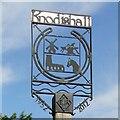 TM4360 : Knodishall village sign by Adrian S Pye