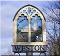 TM4287 : Weston village sign (detail) by Adrian S Pye