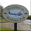 TF8432 : Blenheim Park village sign by Adrian S Pye