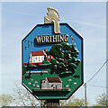TF9919 : Worthing and Hoe village sign by Adrian S Pye