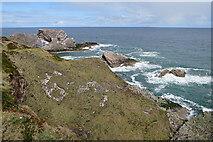 NJ4968 : Cliffs near Portknockie by Anne Burgess