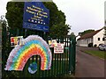 SP3384 : Wheelwright Lane Primary & Nursery School, with coronavirus rainbow by Alan Paxton