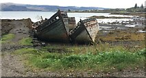 NM5643 : Three abandoned boats, Salen Bay by Eirian Evans