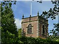 SJ7773 : St Lawrence, Over Peover - bell tower by Stephen Craven