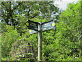 TQ0585 : Public footpath sign, Uxbridge Alderglade Nature Reserve by David Hawgood