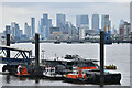 TQ4479 : London seen beyond river ferry jetty at Woolwich by David Martin