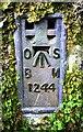 NY7408 : Benchmark on abutment of bridge of dismantled railway north of Waitby by Luke Shaw