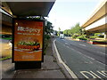 ST3089 : McSpicy advert on a Malpas Road bus shelter, Crindau, Newport by Jaggery
