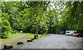 NN8548 : Car park beside Moness Burn by Trevor Littlewood