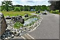 SN5218 : National Botanic Garden of Wales: Water feature made using Welsh stone 2, Spotted Dolerite by Michael Garlick