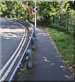 ST3089 : Bend sign on a Barrack Hill lamppost, Newport by Jaggery