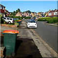 ST3090 : Orange-lidded wheelie bins, Larch Grove, Malpas, Newport by Jaggery