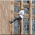 SP3379 : Abseiling down Coventry Cathedral by Gerald England