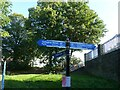 SP3480 : Canalside fingerpost, Coventry Canal at Swancroft Road bridge by Alan Murray-Rust