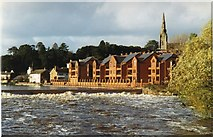 SX9291 : Trews Weir, River Exe in flood by David Smith