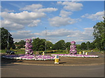 SP3266 : Rugby Road Roundabout, Lillington by David Stowell