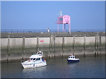 ST1972 : The pink hut of Cardiff Bay barrage by Steve Chapple