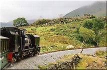 SH5752 : Welsh Highland Railway: train on Ffridd Isaf curve by Martin Bodman