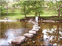 SD9771 : Stepping Stones across the Wharfe by Simon Johnston