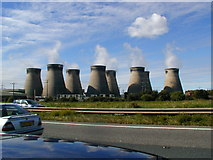 SE4824 : A1 road with Ferrybridge power station in the background by Bob Bowyer