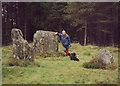 NN9255 : standing stones in the forest by bill copland