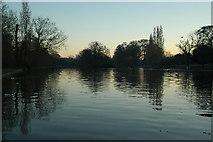 SP0979 : Trittiford Mill Pool, Yardley Wood at dusk by Darius Khan