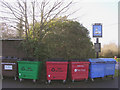 SU2913 : Recycling bins outside the White Hart public house, Cadnam by Jim Champion