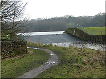SD8632 : Weir next to Rowley Hall by Richard Spencer